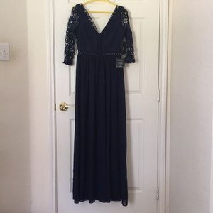 Avalynn Navy Three-Quarter Sleeve Lace Dress